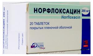 Норфлокасацин - активно действующий препарат